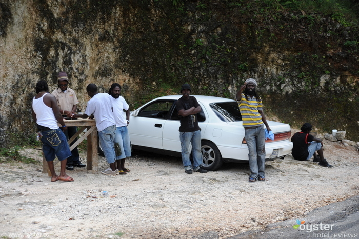 Hanging out and playing Dominoes near Bob Marley's birthplace in Nine Mile, Jamaica.