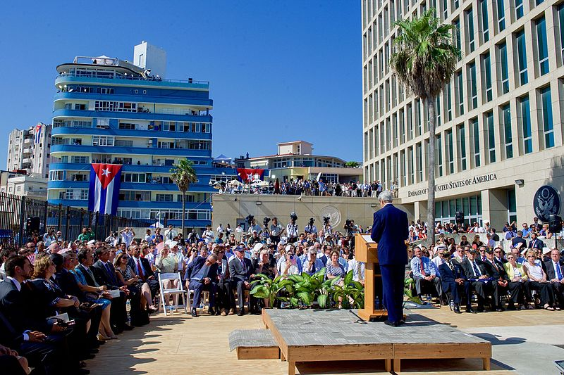 U.S. Secretary of State John Kerry at the reopening of the U.S. Embassy in Havana this August