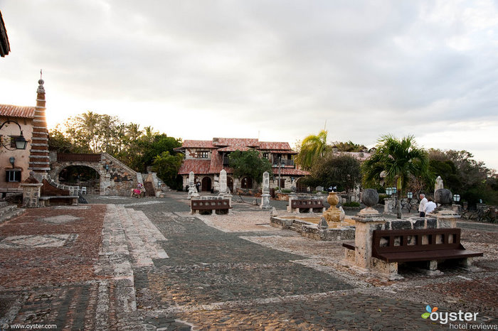 This stone courtyard is located outside of a small church within Altos de Chavon.