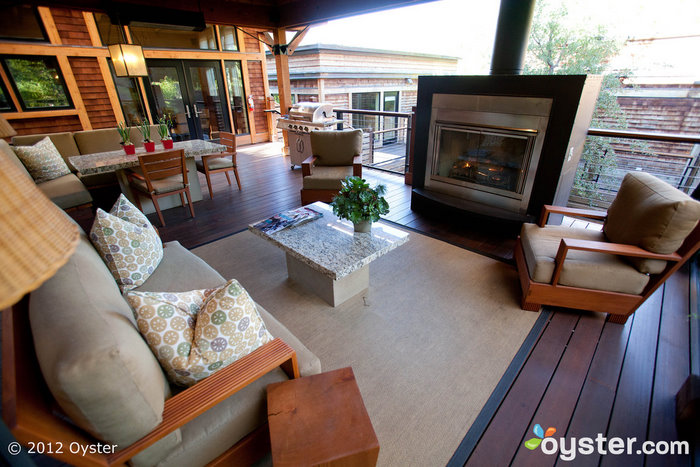 Outdoor Living Room in the Two Bedroom Lodge at the Calistoga Ranch, An Auberge Resort; Napa Valley, CA