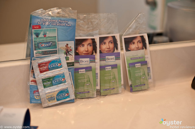 The Beach Paradise in Miami has Biore night serum and toothpaste samples, just in case you forgot yours.