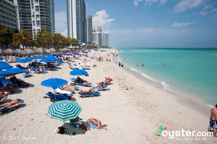 Crowds gather at Miami's beaches for fun in the sun.