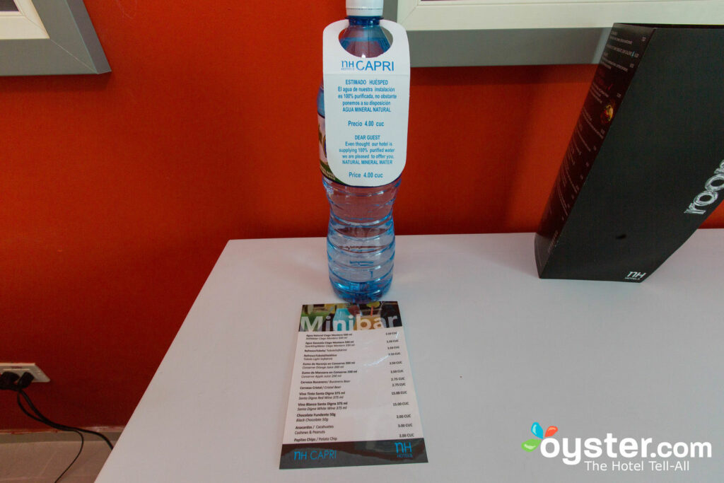 Hotels often provide bottled water for sale, and sometimes for free.