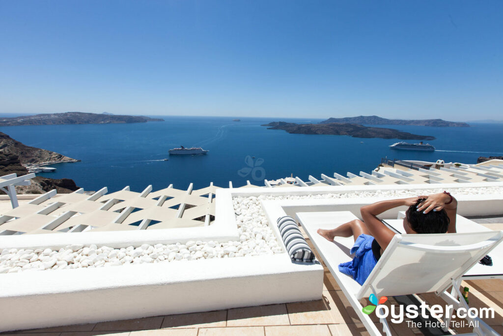 View from the pool at the Lilium Villas Santorini