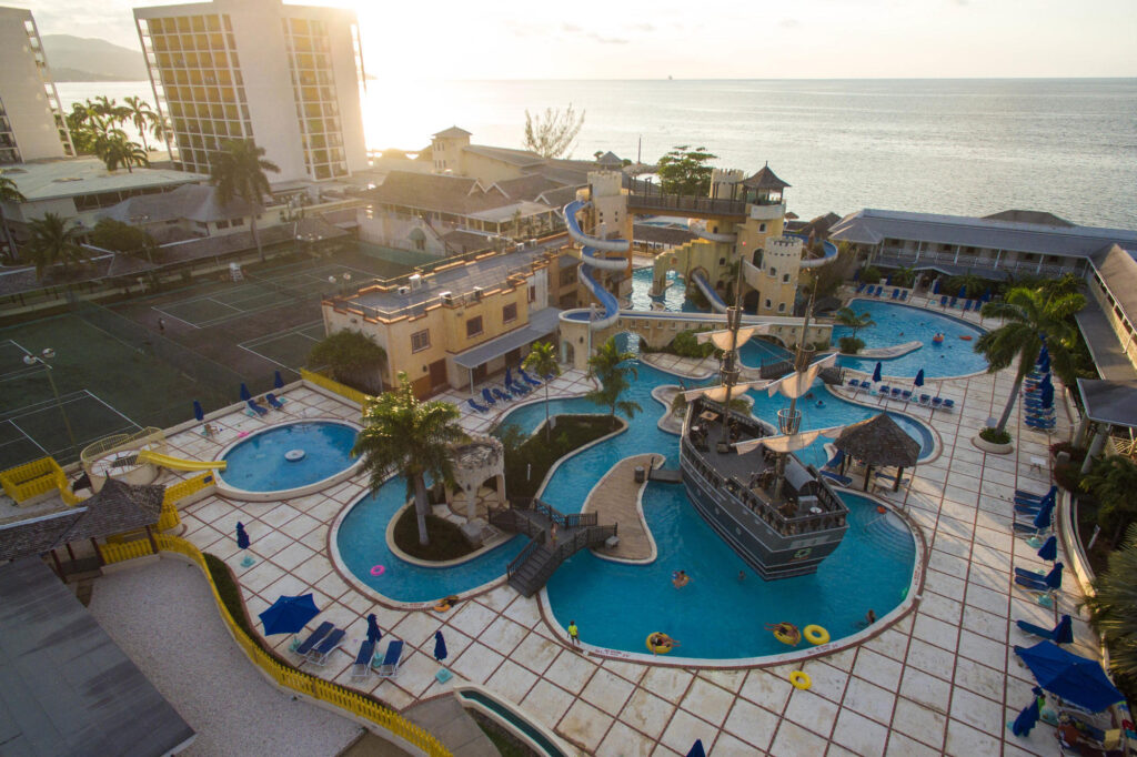 Aerial Photography of the pool at the Sunscape Splash Montego Bay