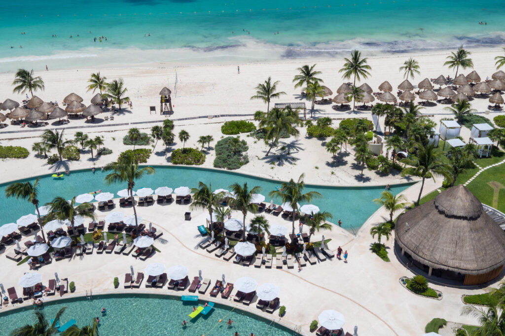 Aerial Photography of the pool at the Secrets Maroma Beach Riviera Cancun