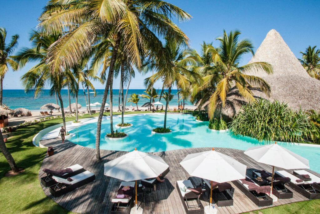 View of pool from hotel at Zoetry Agua Punta Cana