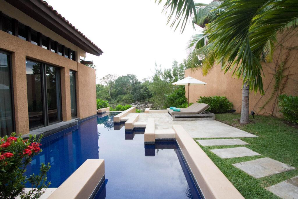 Pool and garden at the Serenity Pool Villa at the Banyan Tree Mayakoba