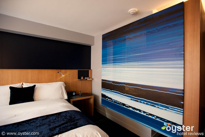 A see-through screen in a Wonderful Room at the W Boston