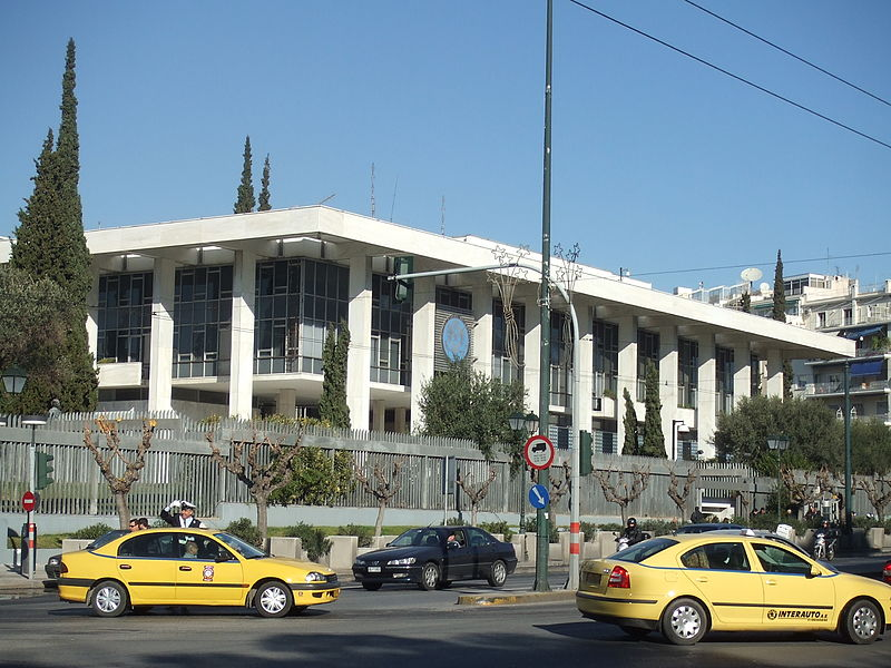 The U.S. Embassy in Athens located at 91 Vasilisis Sophias Avenue; Photo Courtesy of ChritosV, Wikimedia Commons