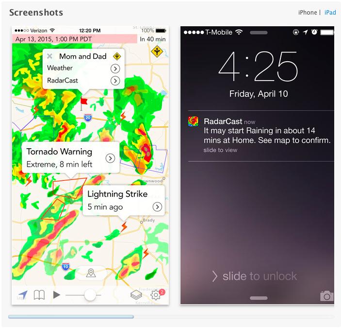 Screenshot dell'applicazione meteo RadarCast