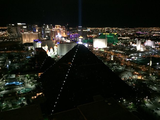 View of the Las Vegas Strip from Rivea; photo courtesy of Alex Creange