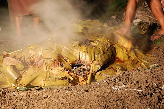A traditional Fijian lovo, Photo byCarmen via Flickr