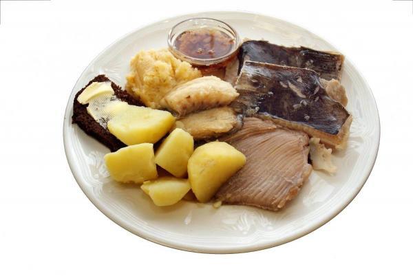 Fermented skate fish dish, Photo via Icelandic Magazine