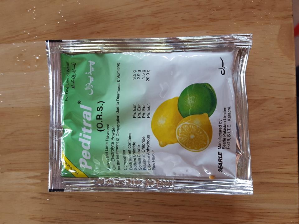 Paquete de hidratación con sabor a lima-limón; Foto cortesía de Katherine Alex Beaven