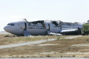 Asiana Airlines Flight 214 after crash landing in San Francisco International Airport