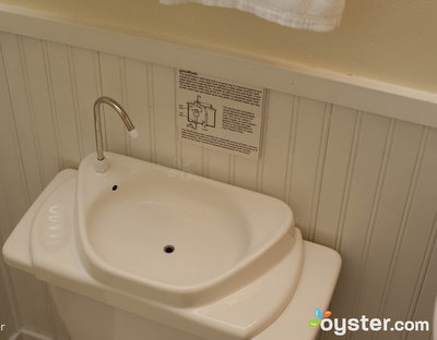 The toilet-top sinks at the Good Hotel conserve water with each flush.