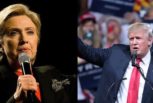 Clinton Crédito da foto: Brett Weinstein ; Trump Crédito da foto: Gage Skidmore