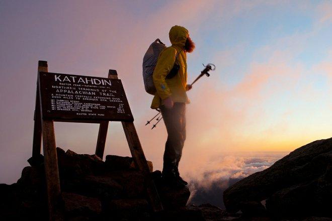 Hiker atop Mount Katahdin