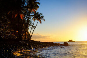 The sun sets at Anse Couleuvre in Martinique. Courtesy of Ryan Smith