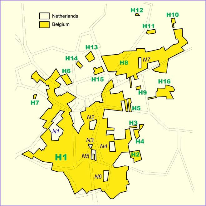 Um mapa de Baarle-Hertog / Baarle-Nassau. Cortesia de  Wikimedia / Tos