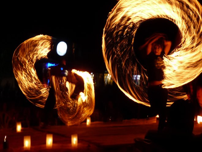 Fire spinning; Image courtesy of Katy Rawlings via Flickr