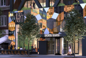 A rendering of the exterior, designed by KOO. Courtesy of Hotel EMC2