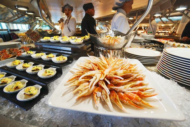 The Terrace Cafe buffet on Oceania Cruises' Riviera. Photo: Jason Leppert