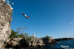 Cliff Jumper in Negril, Jamaica as seen from The Caves Hotel