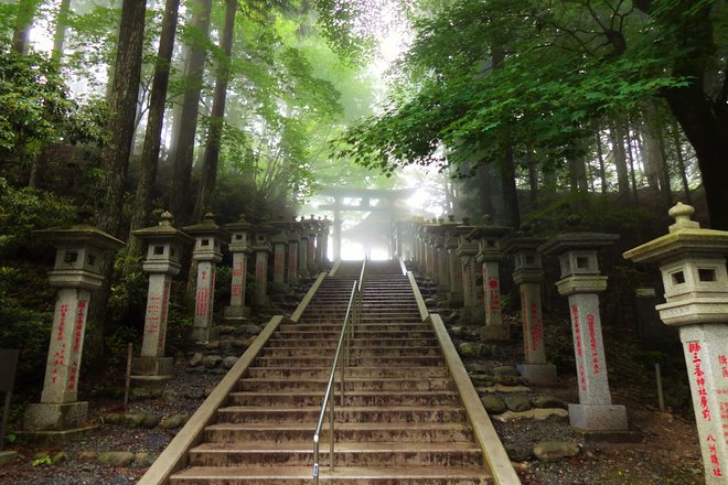 Stairs to Mitsumine shrine. Courtesy of WorldContributor/Wikimedia.