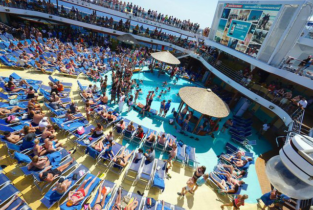 A busy pool deck on Carnival Cruise Line's Carnival Breeze. Photo: Jason Leppert