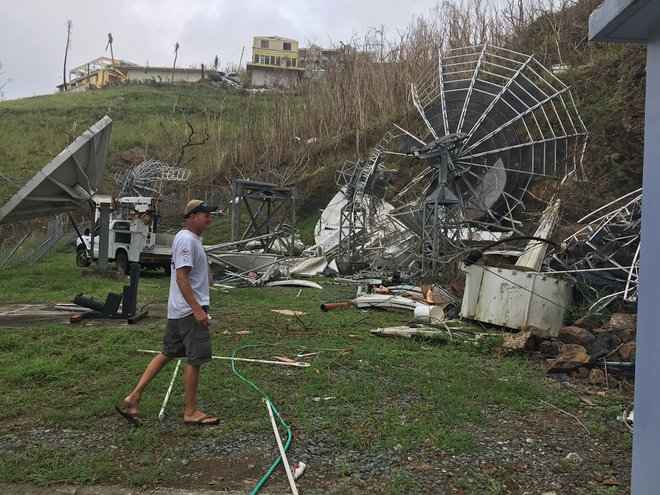 Satellite dishes on Tortola lie in ruins.