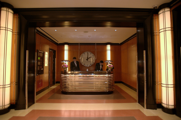 Front desk at The Chatwal, a new luxury hotel in Times Square