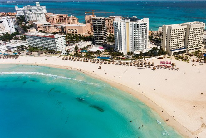 Aerial view from the Hyatt Ziva Cancun/Oyster