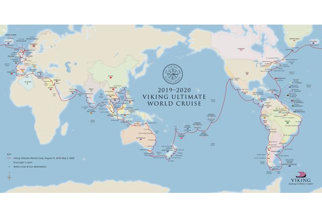 Viking Sun Ultimate World Cruise Map/Courtesy of Viking