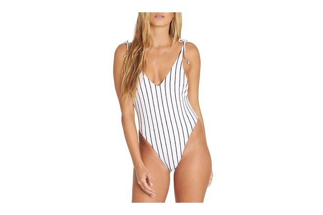 52fec625709f One-piece swimsuits needn't be frumpy, as Billabong proves with this trendy  retro number. Its slimming pinstripes give it a vaguely business-shirt  look, ...