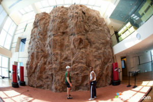 The rock wall in the fitness center at the Canyon Ranch Hotel & Spa