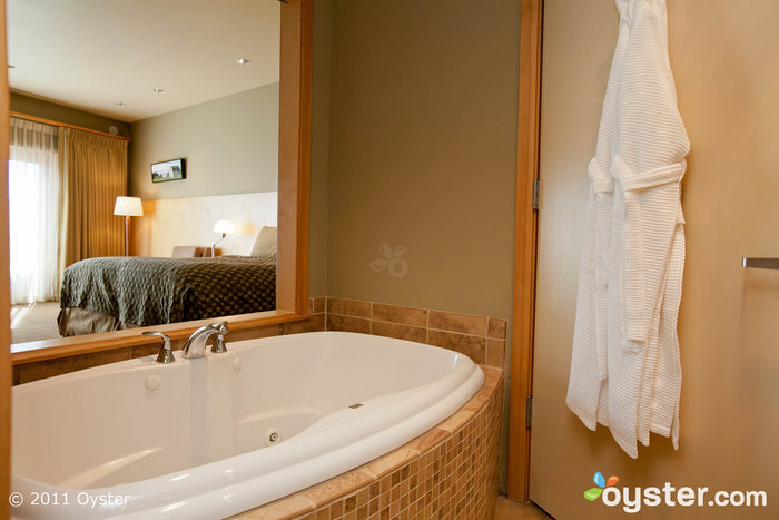 A private jacuzzi in a King Room at the Friday Harbor House; San Juan Islands, WA