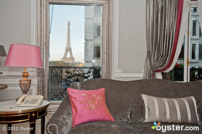 View from the Eiffel Suite at the Hotel Plaza Athenee; Paris, France