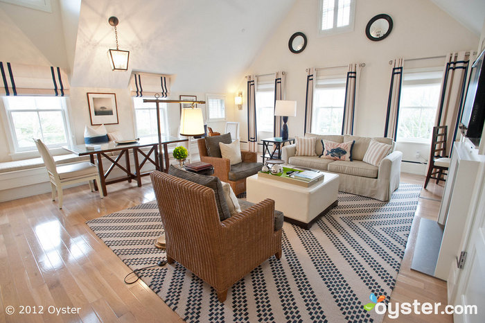 The Living Room in the Macy Two Bedroom at the White Elephant Hotel Residences -- Nantucket