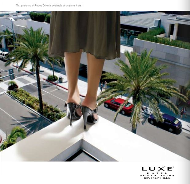The front of a postcard from Luxe Beverly Hills Rodeo Drive