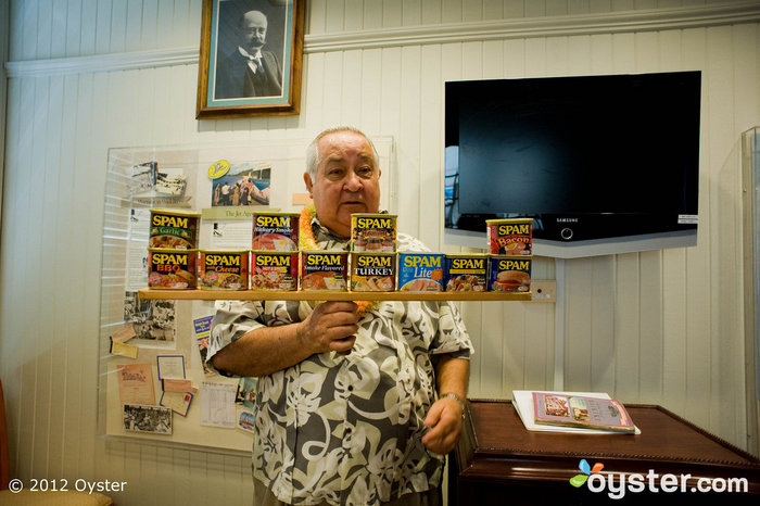 A lesson on Spam in the Historical Room at the Moana Surfrider, A Westin Resort & Spa