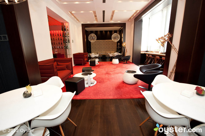 The lounge has an inviting, stylish design.