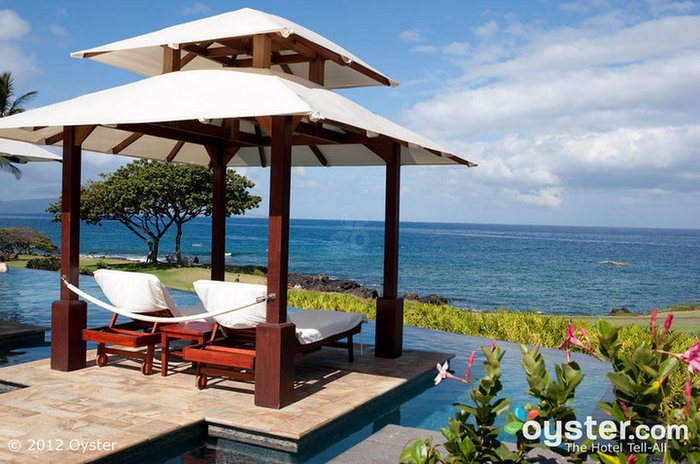 Sexy cabanas overlook the infinity pool and the ocean at the Marriott Wailea Resort.