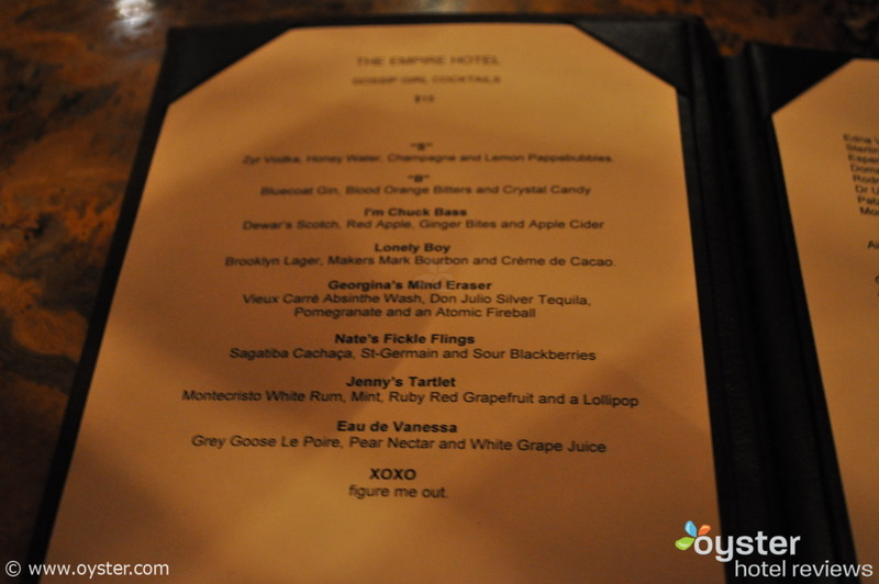 The new 'Gossip Girl' cocktail menu, Empire Hotel