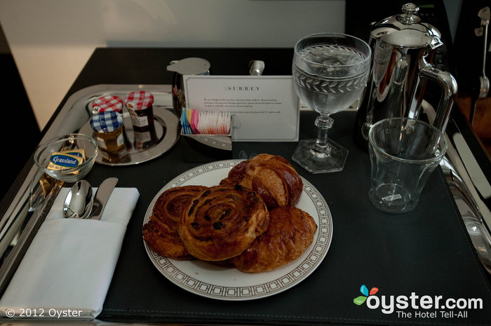 Breakfast in bed at The Surrey in New York City