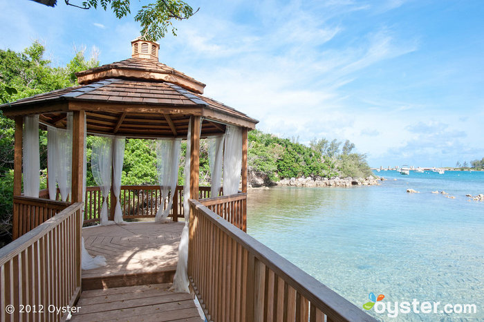 This beachfront gazebo at the Grotto Bay Beach Resort in Bermuda is the perfect place to exchange intimate