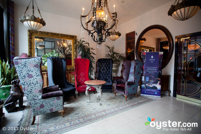 The hotel has fun, Middle Eastern-inspired decor with rich and jewel-toned fabrics.