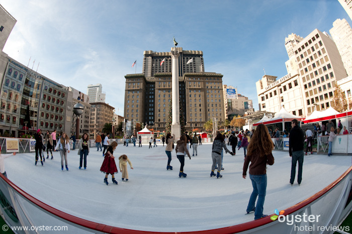 Ice skating in Union Square, San Francisco
