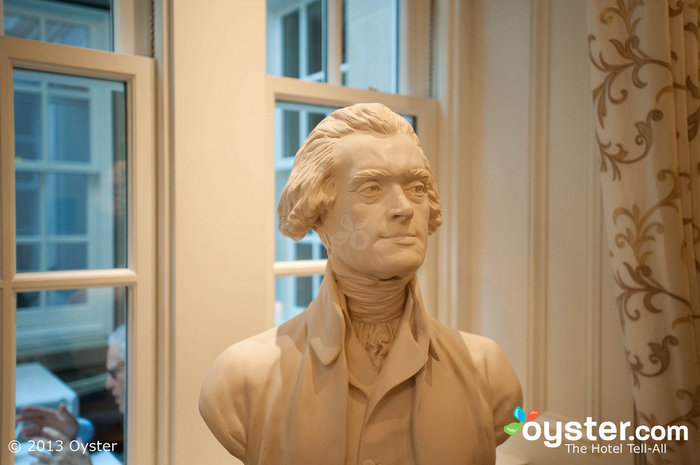 Jean-Antoine Houdon busts of the Founding Fathers add to the hotel's dignified -- and patriotic -- vibe.